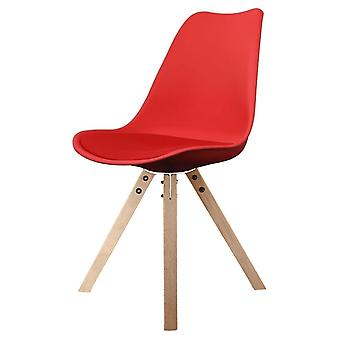 Fusion Living Eiffel Inspired Red Plastic Dining Chair With Square Pyramid Light Wood Legs