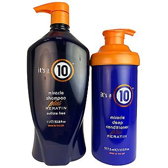 It's een 10 wonder shampoo & deep conditioner plus keratine duo 33.3 oz - 17.5 oz