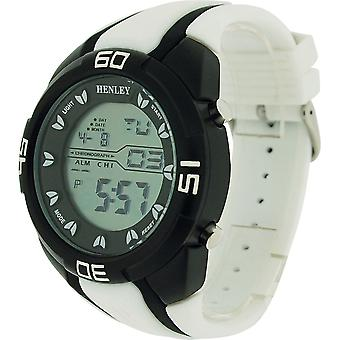 Henley Gents Digital Backlight Calendar Black Silicone Strap Watch HDG021.4