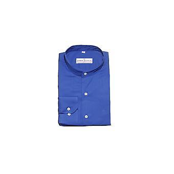 Jenson Samuel Plain Midnight Blue Paisley Collarless Regular Fit Shirt