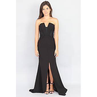 Fit & Flare schwarz Maxi-Kleid