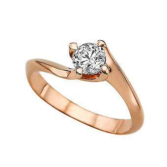 0.60 CT 5.50MM Forever One Moissanite Engagement Ring 14K Rose Gold 4 Prongs Twist Round