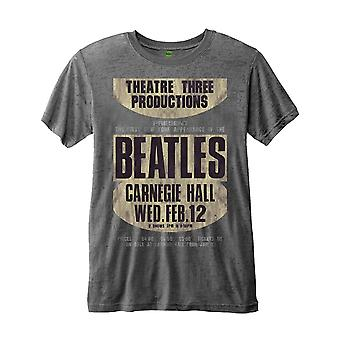 Il Beatles T Shirt Carnegie Hall Poster nuovo ufficiale Mens Grey Burnout slim fit