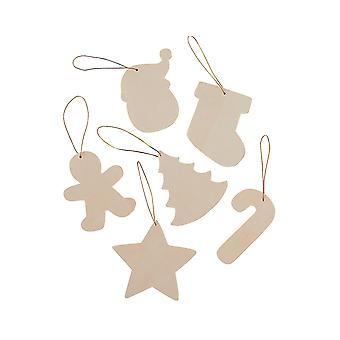 12 Hanging Wooden Christmas Decorations for Kids Crafts