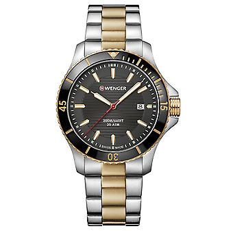 Wenger Seaforce Quartz Black Dial Silver and Gold Stainless Steel Bracelet Strap Men's Watch 01.0641.127 RRP £189