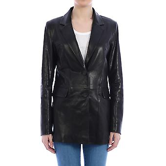 Arma 006l20103802black Women's Black Leather Outerwear Jacket