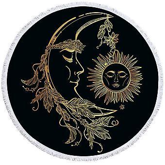 Serviette de plage de soleil et de lune d'or