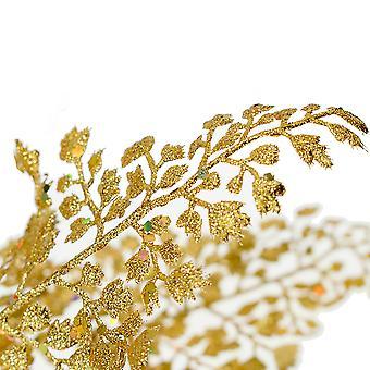 55cm Tall Gold Christmas Glittered Boxwood Leaf Spray - Floristry Stem