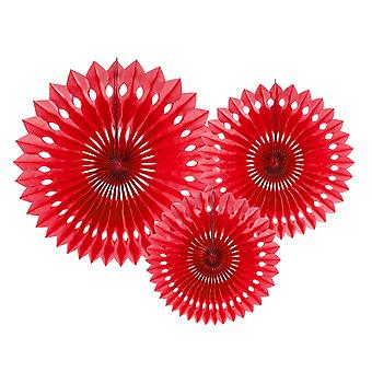 3 Red Assorted Size Tissue Paper Fans | Paper Hanging Party Decorations