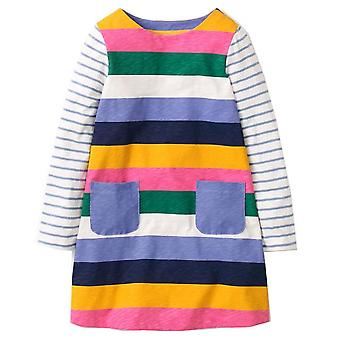 Long Sleeve Princess Tunic Jersey Dress, Block Stripe Design, Infant