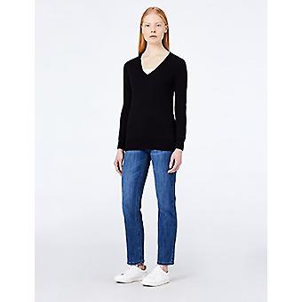 MERAKI Women's Cotton V Neck Sweater, (Black), EU M (US 8)
