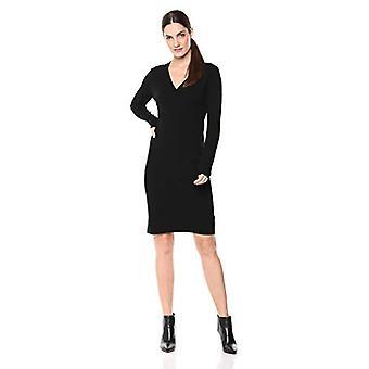 Brand - Lark & Ro Women's Long Sleeve Faux Wrap Sheath Sweater Dress, Black, X-Small