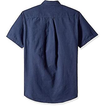 エッセンシャルメン&アポスのレギュラーフィット半袖ポケットオックスフォードシャツ、ネイビー、L..