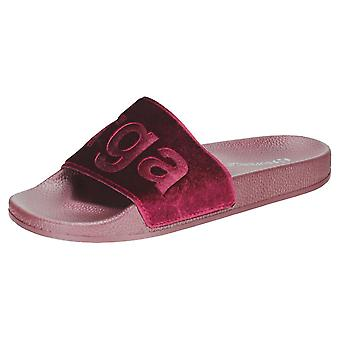 Superga 1908 Velvet Womens Slide Sandals in Burgundy
