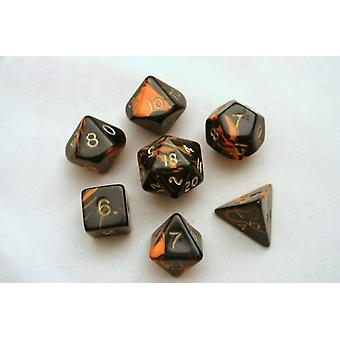 Oblivion Polydice Set - Orange - 7 Standard Sized Dice for D&D and other RPGs