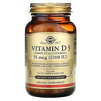 Solgar, Vitamine D3 (Cholecalciferol), 55 mcg (2 200 UI), 100 capsules végétales