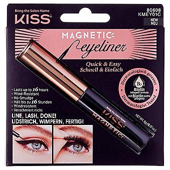 Kiss Magnetic Wind Resistant Eyeliner - Black 5 g - Biotin Infused Formula