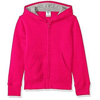Essentials   Girls' Fleece Zip-up Hoodie, Raspberry Sorbet L (10)