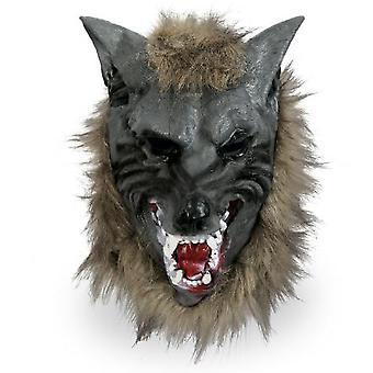 Full maske ulv med hår varulv Halloween maske