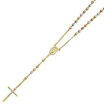 14 k Gelbgold Weißgold und Rose Gold 5mm Disco Kugel Rosenkranz Halskette 26 Zoll Schmuck Geschenke für Frauen
