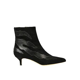 Gia Couture Ezgl486003 Women's Black Leather Ankle Boots