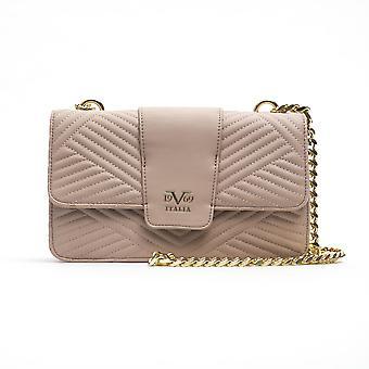 Ribbed leather women's crossbody bag - pink 19v69 italia