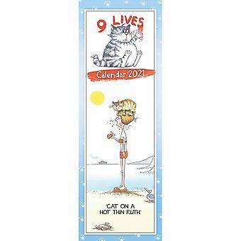 Otter House 2021 Slim Calendar - 9 Lives