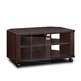 Furinno Indo FL-800EX 2x2 TV Stand with Double Glass Doors and Casters, Espresso