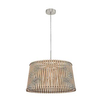 1 Light Ceiling Pendant Satin Nickel with Maple Wood Shade, E27
