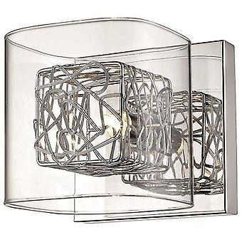 1 Lumière Indoor Glass Wall Light Chrome, G9