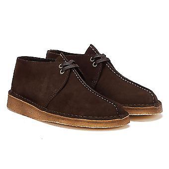 كلاركس الصحراء تريك جلد الغزال الرجال أحذية البني الداكن