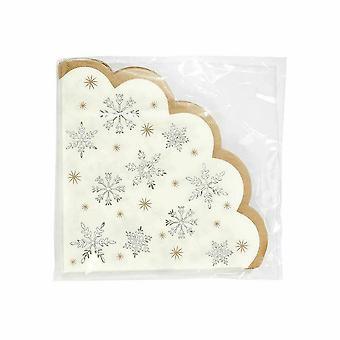 Gegratineerde kerst Snowflake partij papieren servet x 16