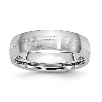 Cobalt Chromium 925 Sterling Argent Enmétalable Inlay Satin 6mm Band Ring Jewelry Gifts for Women - Ring Size: 7 to 13