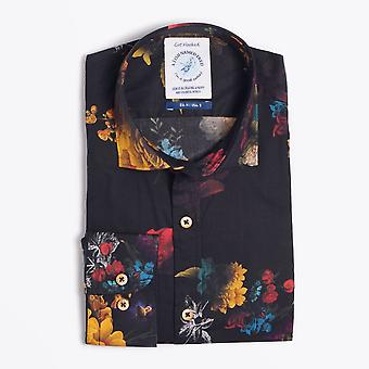 A Fish Named Fred  - Flower Painting Print Shirt - Black/Multi