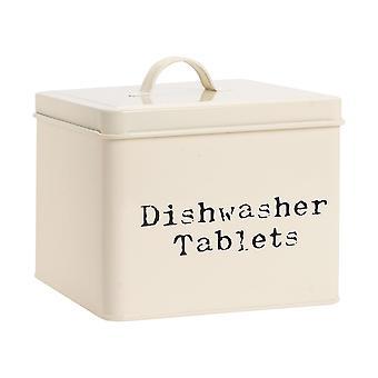 Industrial Dishwasher Tablet Storage Tin - Vintage Style Steel Kitchen Storage Caddy con coperchio - Crema