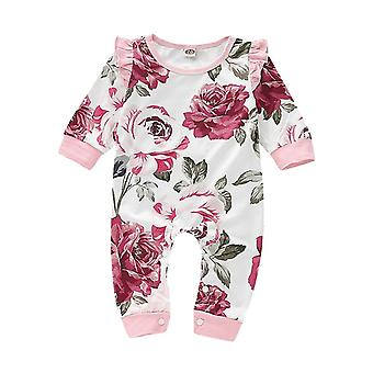 Baby Jumpsuit, Long Sleevem Ruffles Floral Print Cloths