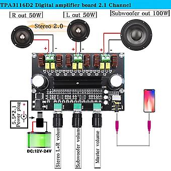 Digital Amplifier Board, Bluetooth 5.0 Volume Tonen 2.1 Channel Stereo Klasse D