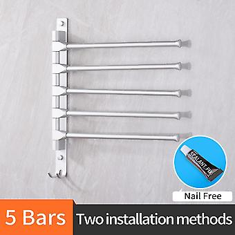 Nail Free 30cm Multi Arms Towel Hanging With Hooks, Bathroom Movable Bars