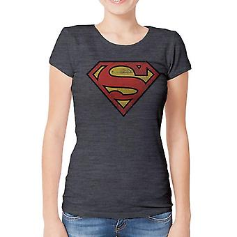 Superman dames/dames verontrust logo ontwerp T-shirt