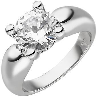 Kvinnors Ring 925 Sterling Silver 1 Zirconia Silver Ring