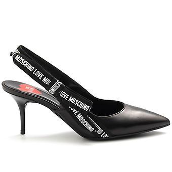 Schwarze Liebe Moschino Schuhe mit Logato Stoffband