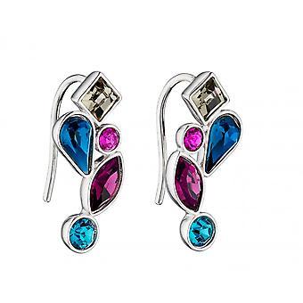 Fiorelli Silver Mix Shape Crystals Coloured Earrings E5793