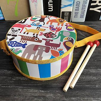 Child Wooden Cartoon Animal Giraffe/lion/rabbit Hand Double-sided Drum