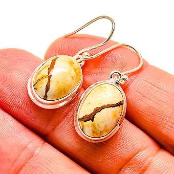 """Picture Jasper Earrings 1 1/4"""" (925 Sterling Silver)  - Handmade Boho Vintage Jewelry EARR407971"""