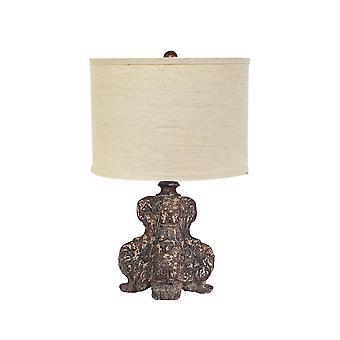 Brun skulpturel bordlampe med linned skygge
