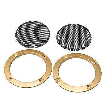 2pcs 3Inch Auto Audio Lautsprecher Golden Grille Cover Guard Protector Mesh Netz
