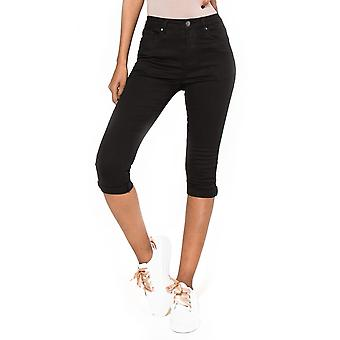 Women's Shorts Stretch Pants Capri Denim Effect Treggings 3/4 Trousers Jeans