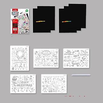 Rainbow Color Scratch Paper, kort set med graffiti stencil för ritning Diy
