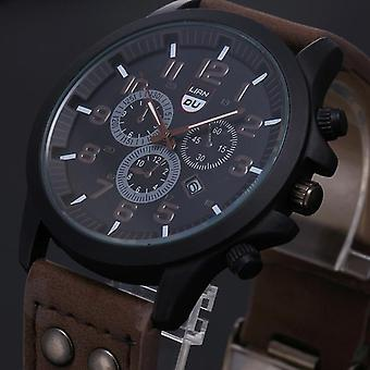 Vintage Classic Stainless Steel Waterproof Date Leather Strap Sport Quartz Army