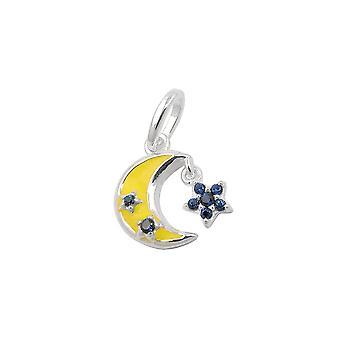 Lua pendente e flor prata 925